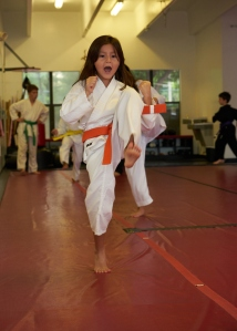 girls kick at Boca Raton karate & kickboxing